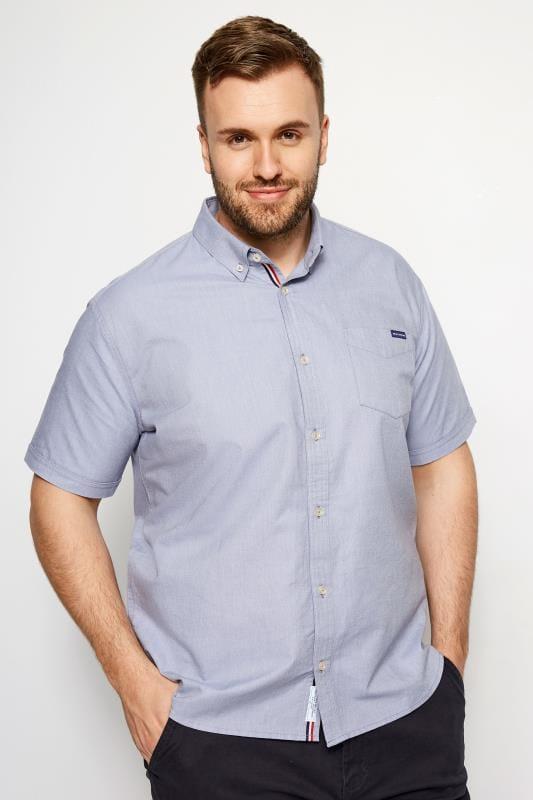Plus Size Smart Shirts BadRhino Blue Cotton Short Sleeved Oxford Shirt
