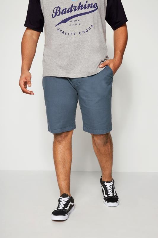 BadRhino Blue Five Pocket Chino Shorts With Belt