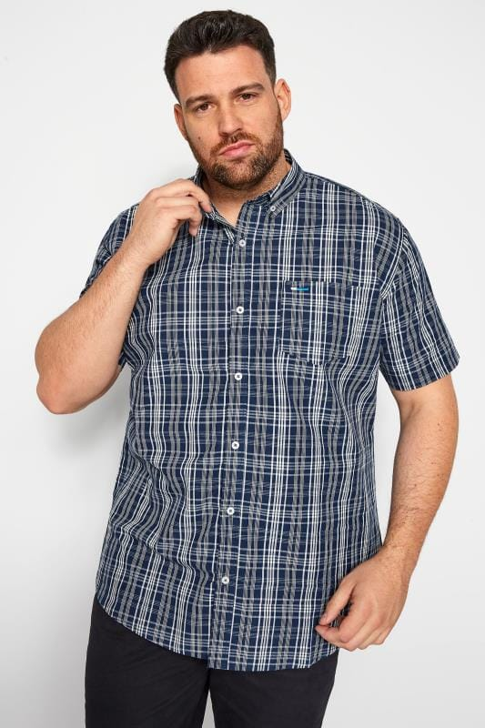 Casual Shirts BadRhino Blue Grid Check Shirt 201290