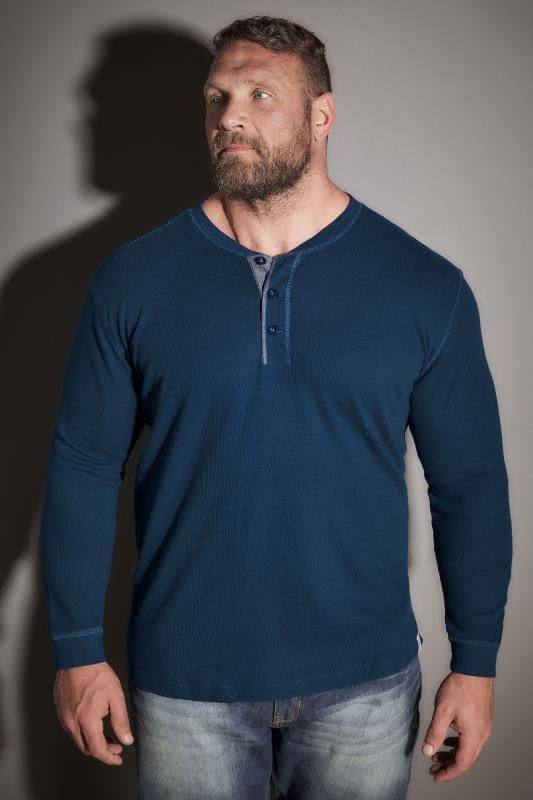 BadRhino Blue Henley Button Detail Cotton Jersey Top