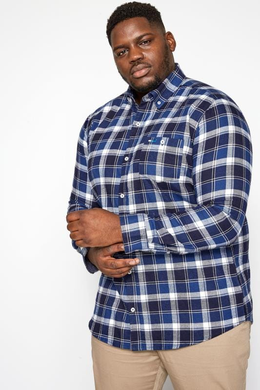 Plus Size Casual Shirts BadRhino Blue Large Check Brushed Shirt