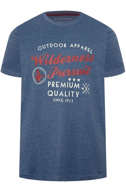 BadRhino Blue Marl 'Wilderness Pursuit' Slogan Print T-Shirt