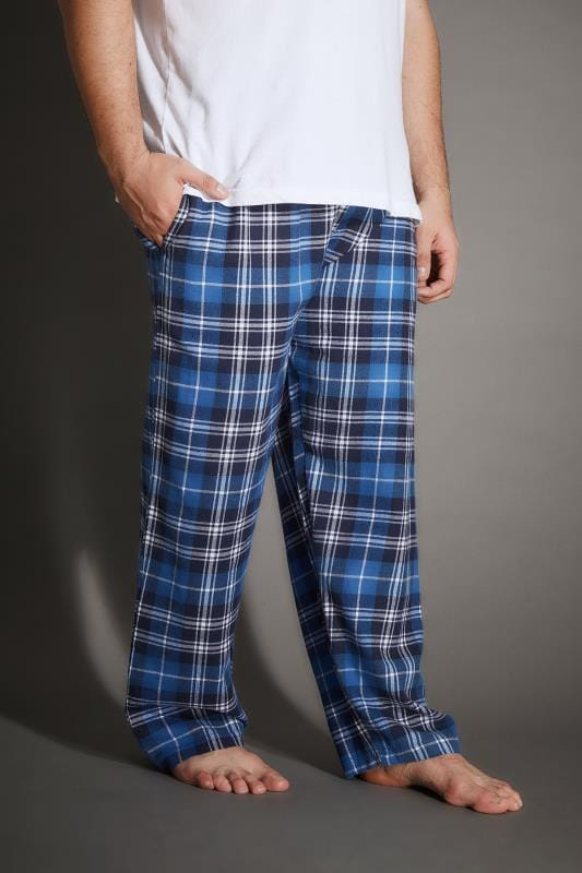 Plus Size Nightwear BadRhino Blue & Navy Check Pyjama Bottoms
