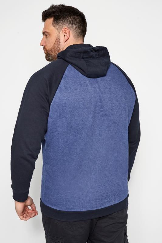 BadRhino Blue Printed Raglan Hoodie