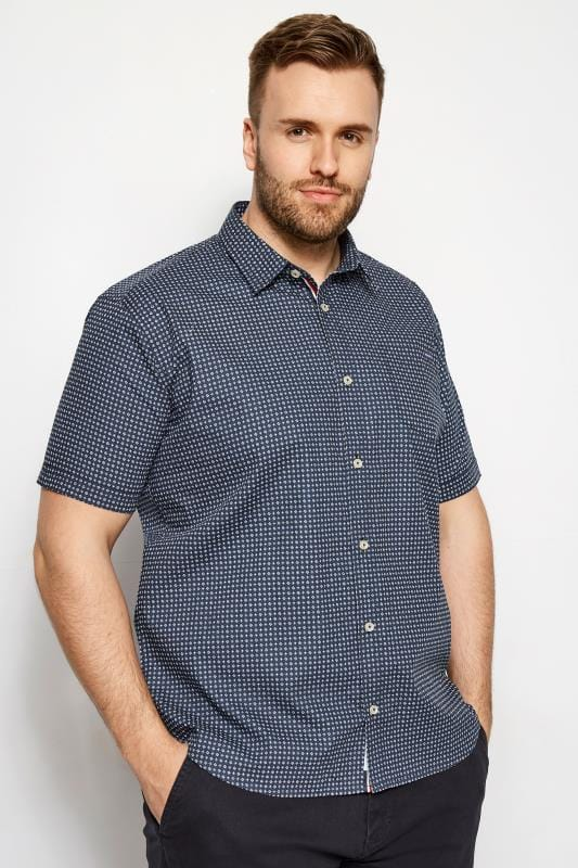 Casual Shirts BadRhino Blue Printed Short Sleeve Shirt 200900