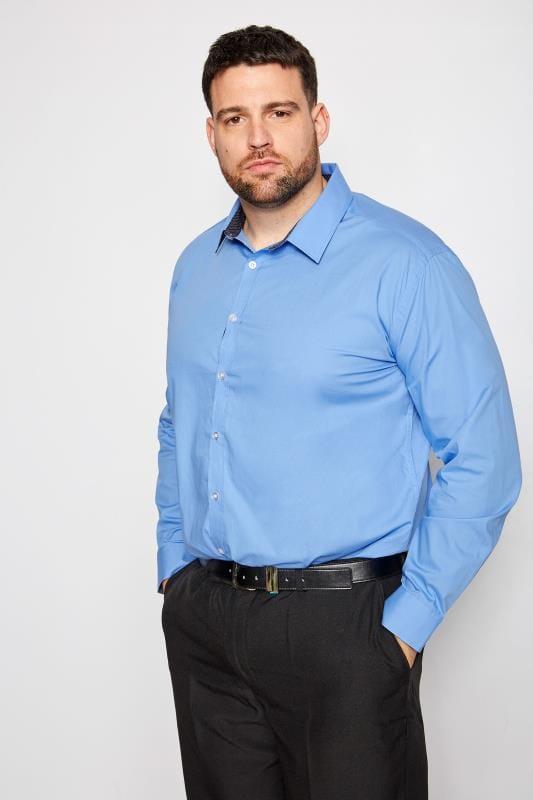 BadRhino Blue Smart Patterned Trim Shirt