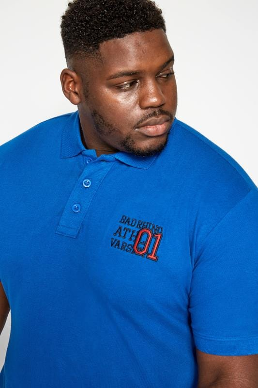 BadRhino Blue Varsity Badge Polo Shirt