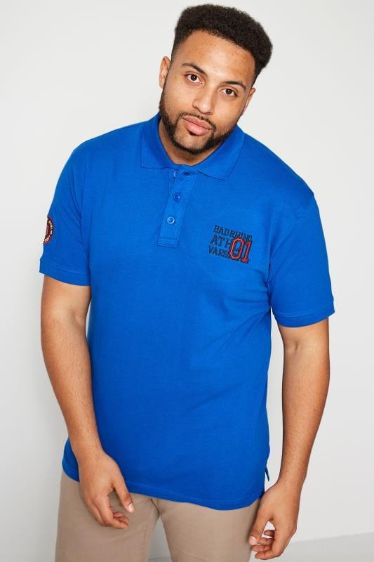 Polo Shirts BadRhino Blue Varsity Badge Polo Shirt 201006