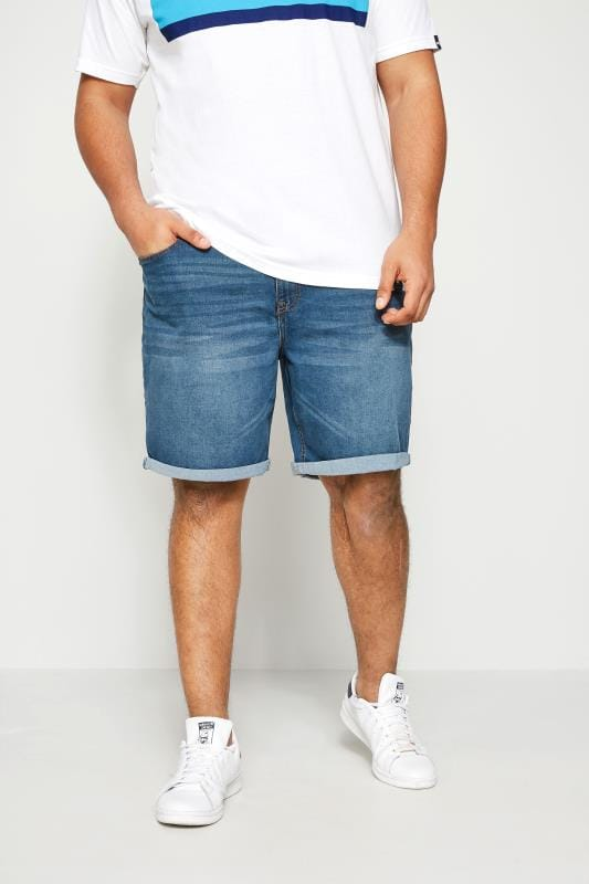 Plus-Größen Denim Shorts BadRhino Blue Washed Denim Shorts