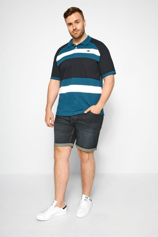 BadRhino Blue & White Striped Polo Shirt