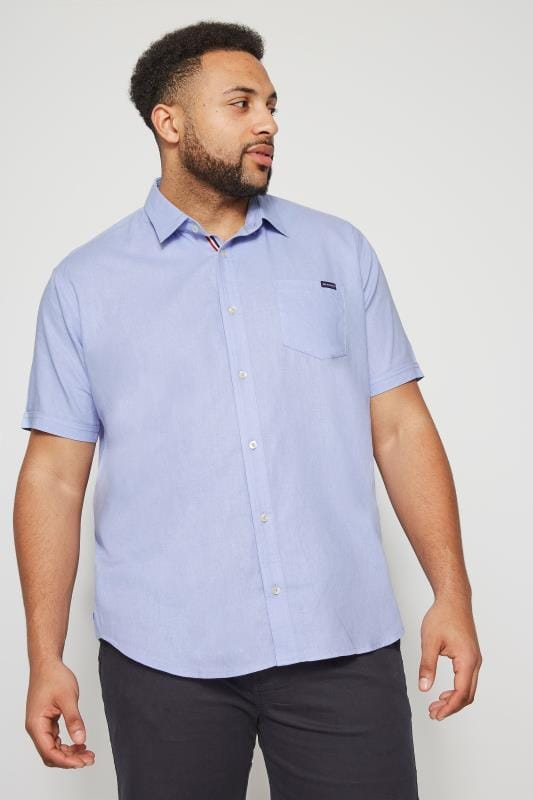 Plus Size Smart Shirts BadRhino Blue Linen Mix Shirt