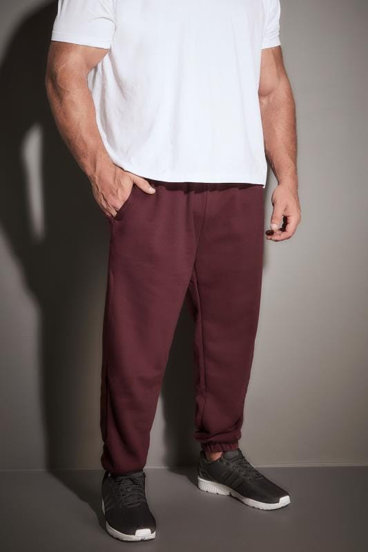 Plus Size Joggers BadRhino Burgundy Basic Sweat Joggers With Pockets