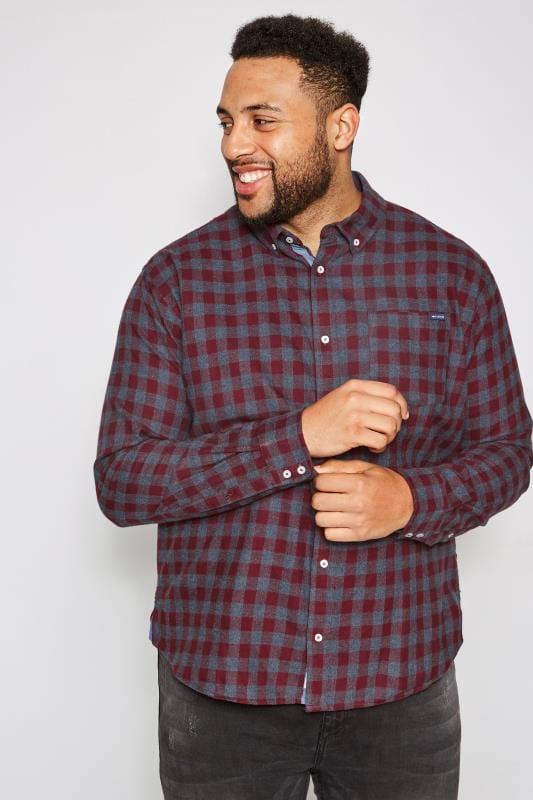 BadRhino Burgundy Brushed Checked Shirt