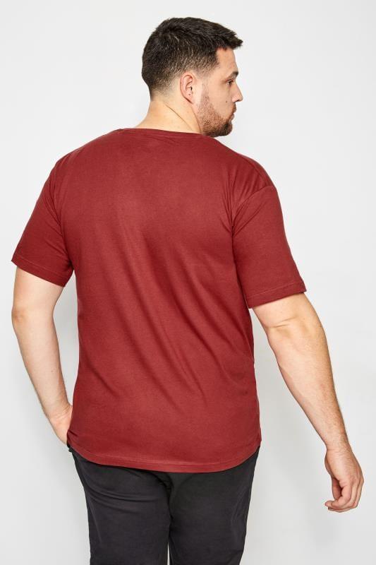 BadRhino Burgundy Crew Neck Basic T-Shirt