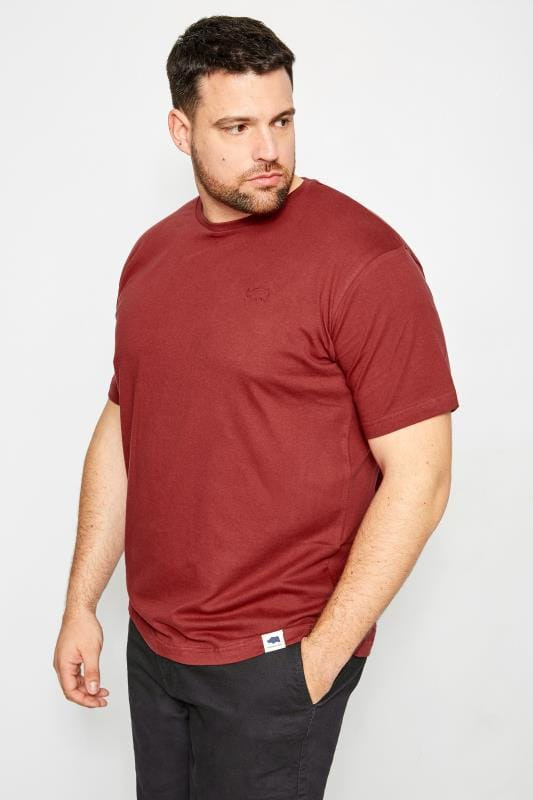 Plus Size T-Shirts BadRhino Burgundy Crew Neck Basic T-Shirt