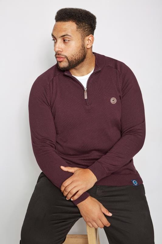 BadRhino Burgundy Fine Knit Zip Jumper