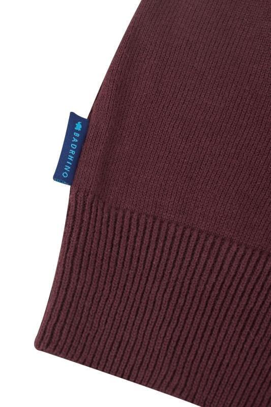 BadRhino Burgundy Fine Knit Zip Jumper