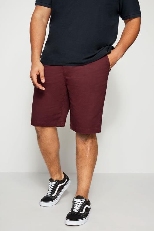 Burgundy Chino Shorts With Belt