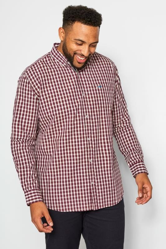 Smart Shirts BadRhino Burgundy Gingham Check Shirt 201209