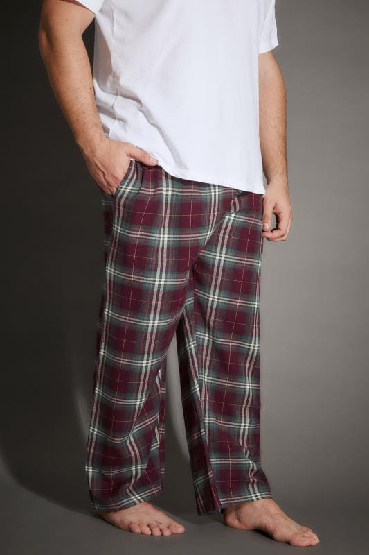 BadRhino Burgundy & Green Check Pyjama Bottoms