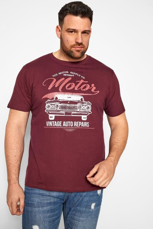 Plus Size T-Shirts BadRhino Burgundy Motor Graphic Print T-Shirt