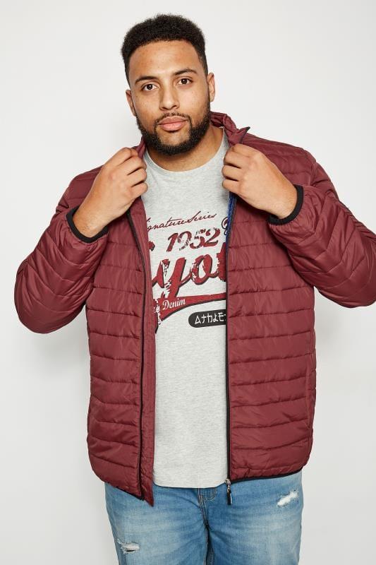 Plus Size Coats BadRhino Burgundy Padded Zip Through Jacket