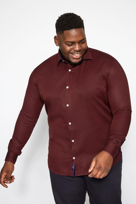 Große Größen Smart Shirts BadRhino Burgundy Smart Twill Shirt