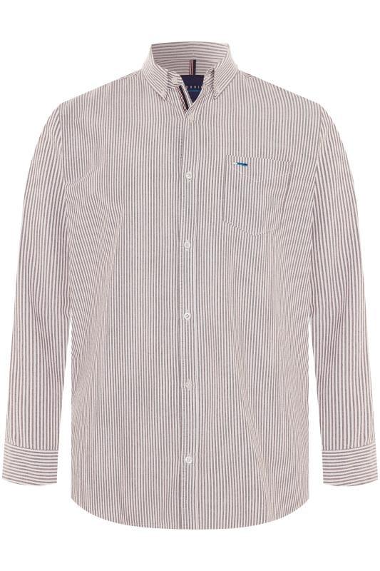 Men's Smart Shirts BadRhino Burgundy Striped Long Sleeved Oxford Shirt