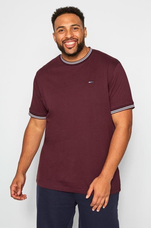 Plus Size T-Shirts BadRhino Burgundy Striped Ribbed T-Shirt