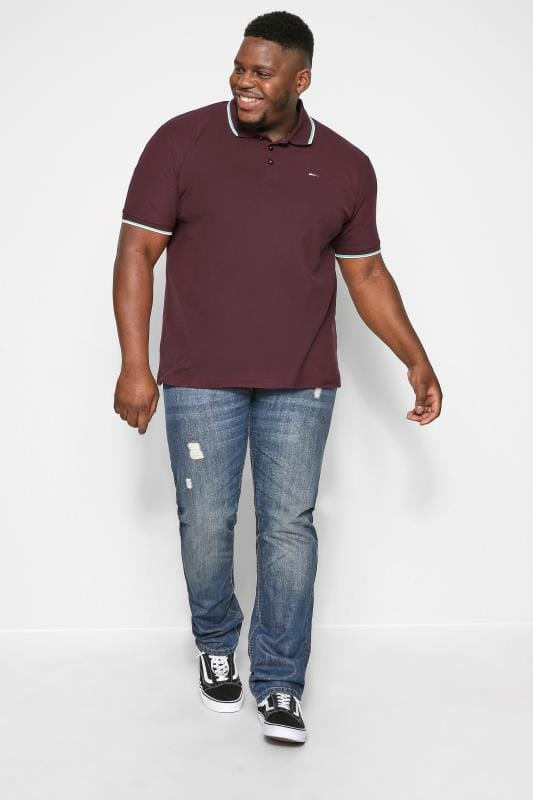BadRhino Burgundy Tipped Polo Shirt