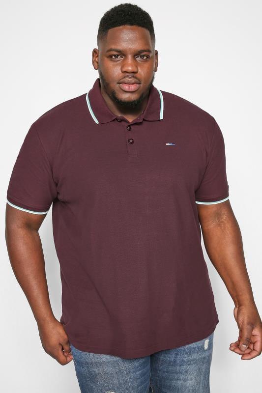 Plus Size Polo Shirts BadRhino Burgundy Tipped Polo Shirt