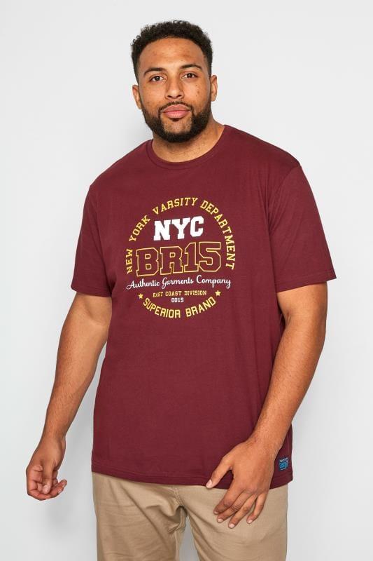 Plus-Größen T-Shirts BadRhino Burgundy Varsity Print T-Shirt
