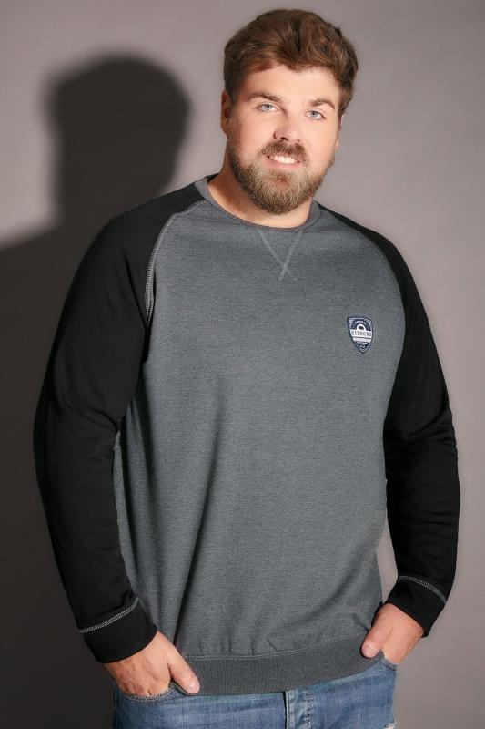 BadRhino Charcoal Marl & Black Raglan Logo Detail Sweatshirt