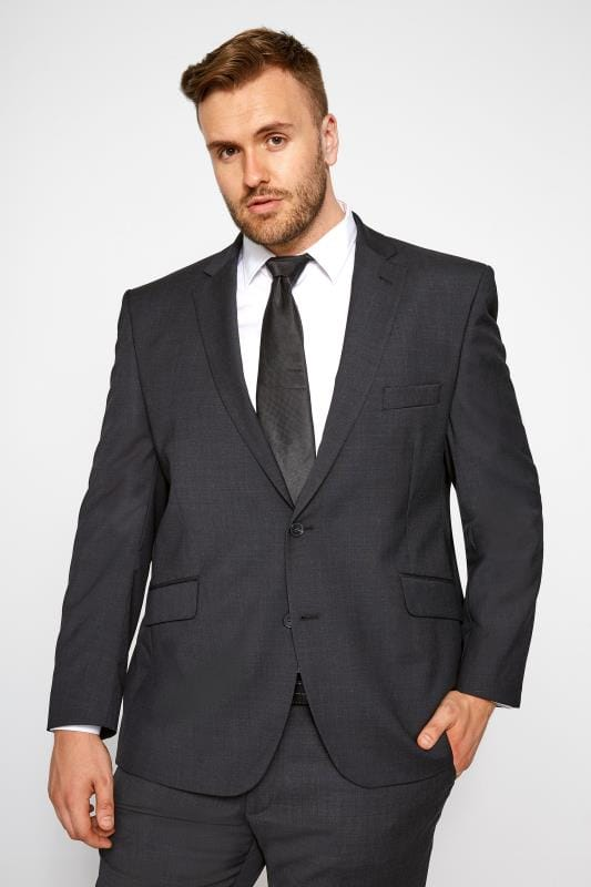 Vestes de Costumes Grande Taille BadRhino Charcoal Regular Suit Jacket