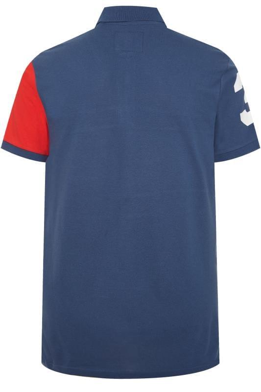 BadRhino Blue Colour Block Stripe Polo Shirt_3127.jpg