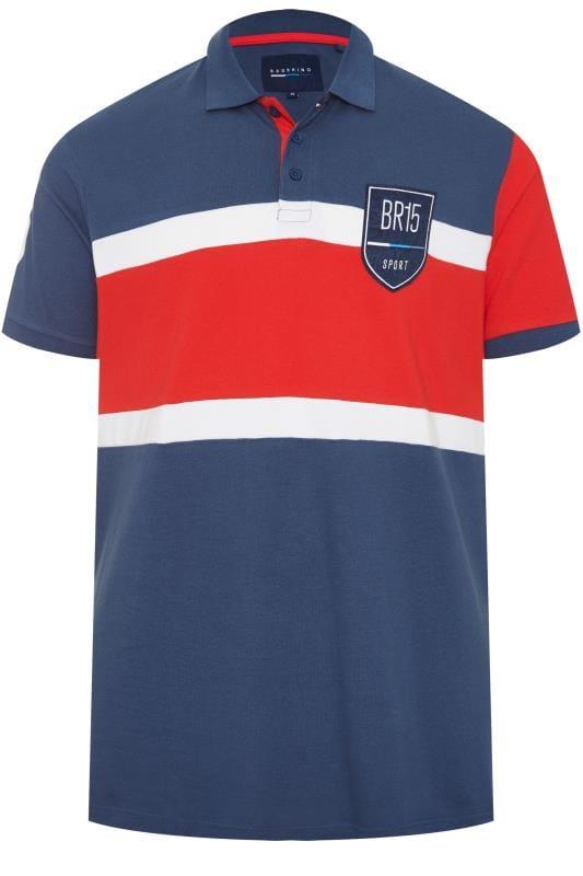 Polo Shirts BadRhino Blue Colour Block Stripe Polo Shirt