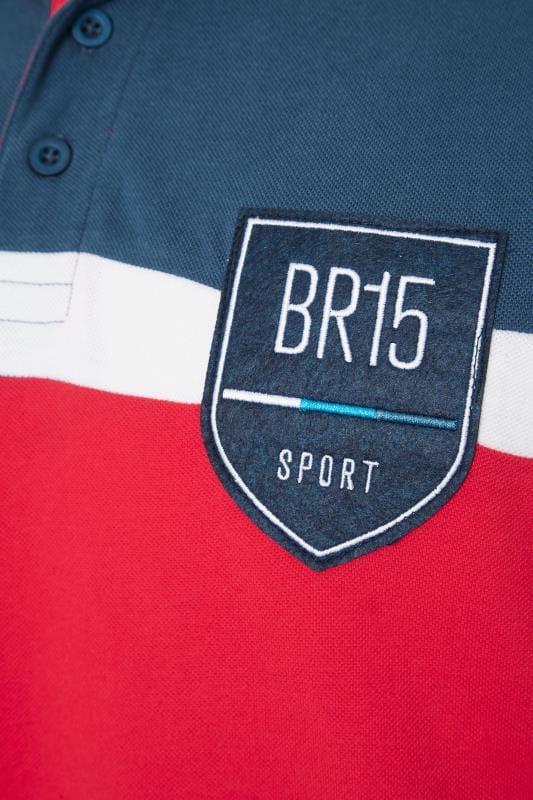 BadRhino Blue Colour Block Stripe Polo Shirt_ce2a.jpg