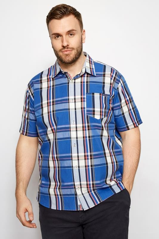Plus Size Casual Shirts BadRhino Dark Blue Check Short Sleeve Shirt
