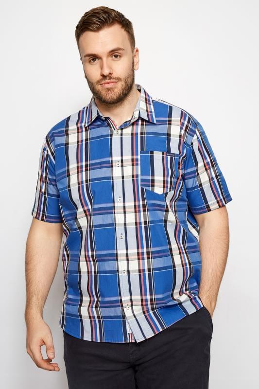 BadRhino Dark Blue Check Short Sleeve Shirt