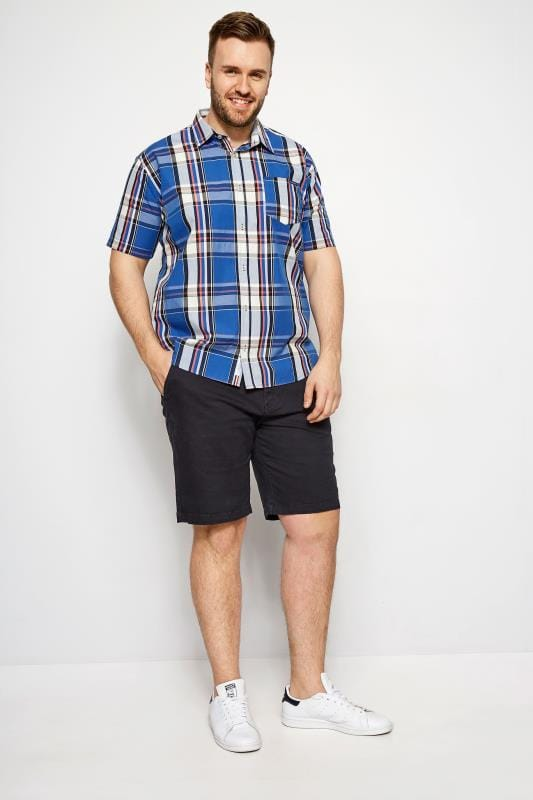 Plus Size Casual Shirts BadRhino Dark Blue Check Short Sleeve Shirt