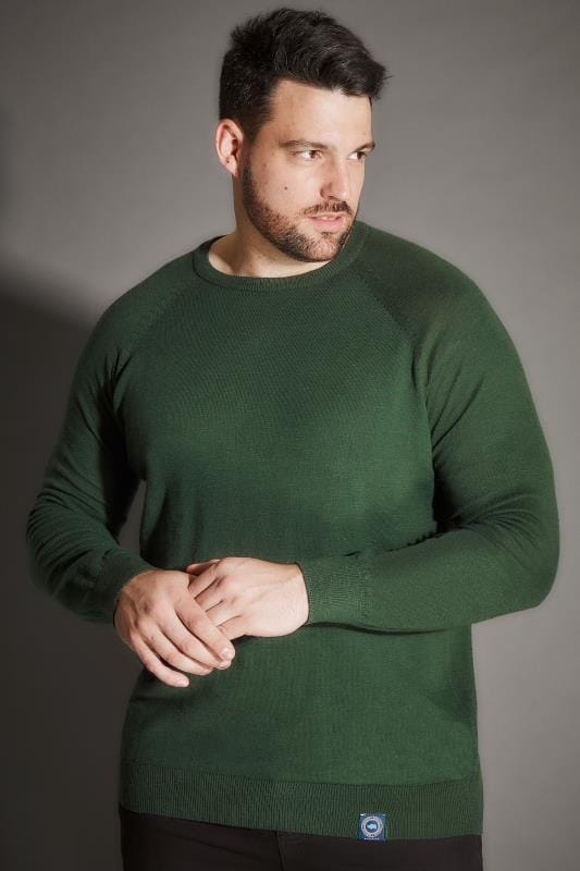Jumpers BadRhino Dark Green Premium Slub Cotton Jumper With Crew Neck 200357