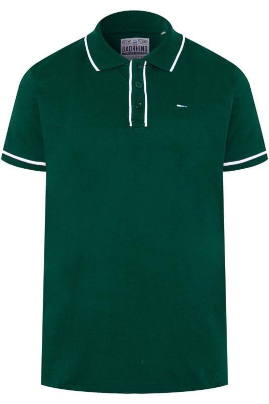BadRhino Dark Green Piped Polo Shirt