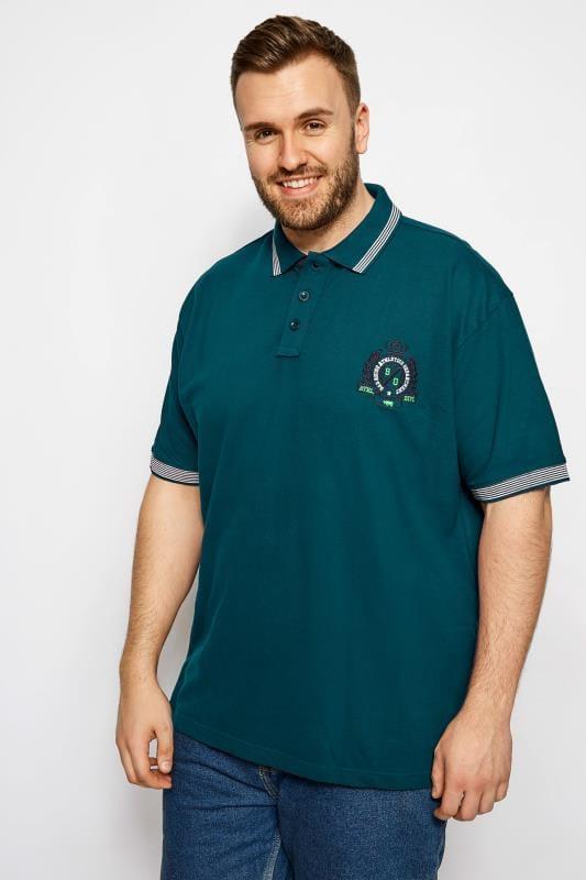 Polo Shirts BadRhino Dark Green Tipped Polo Shirt 200990