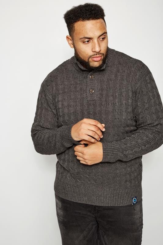 Jumpers BadRhino Dark Grey Cable Knit Jumper 200740