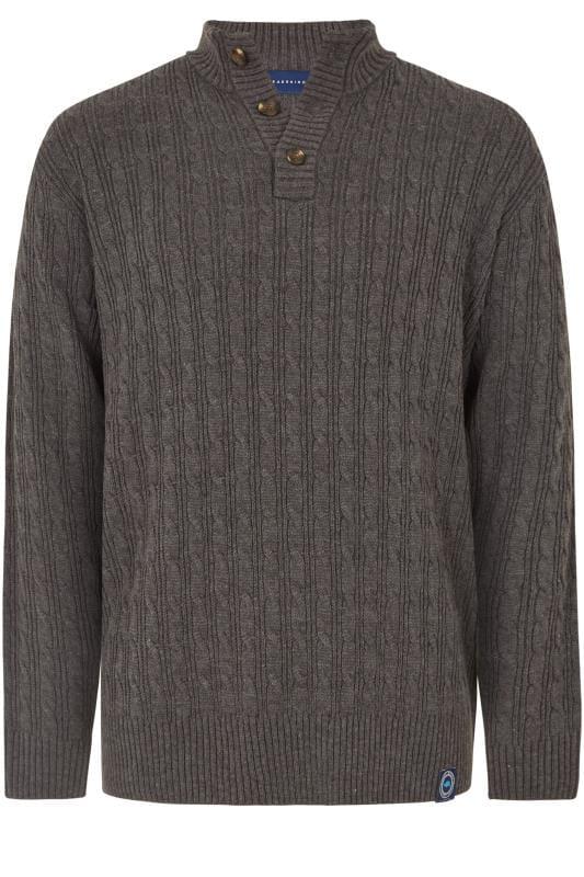 BadRhino Dark Grey Cable Knit Jumper