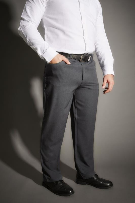 Plus Size Smart Trousers BadRhino Dark Grey Smart Straight Leg Stretch Trousers With 5 Pockets
