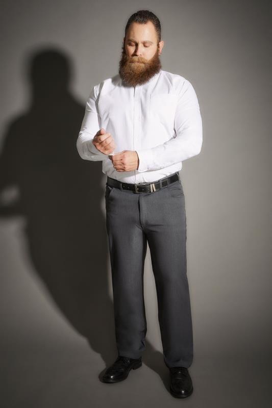 BadRhino Dark Grey Smart Straight Leg Stretch Trousers With 5 Pockets