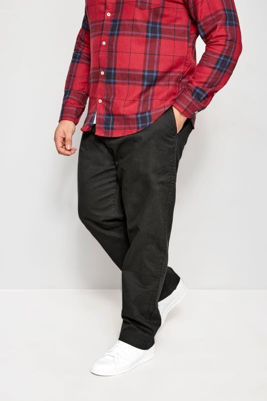 Plus Size Chinos & Cords BadRhino Dark Grey Stretch Chinos
