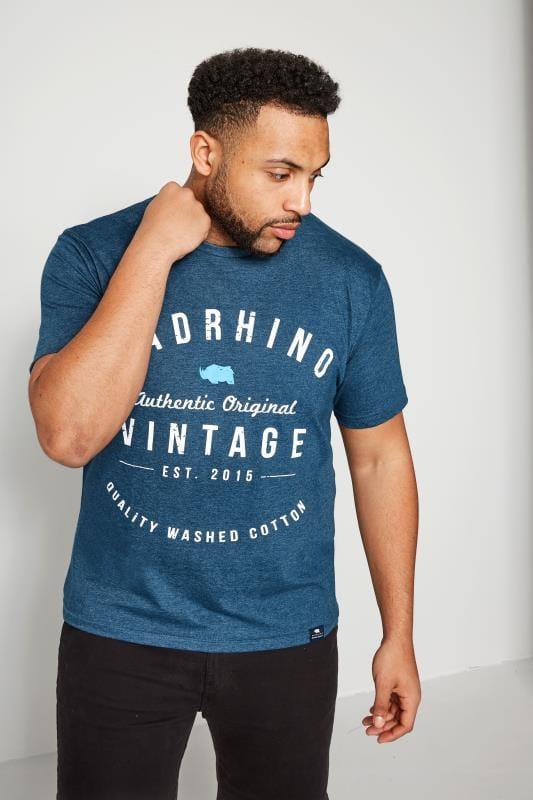 BadRhino Denim Blue Marl Crew Neck Vintage Logo T-Shirt