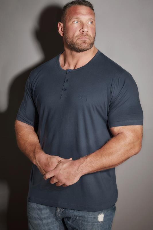 Plus Size T-Shirts BadRhino Denim Blue Short Sleeve Grandad T-Shirt